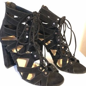 Show Dazzle Lace-up Suede Heels